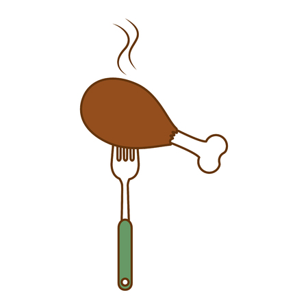 fork with chicken thighs vector illustration design