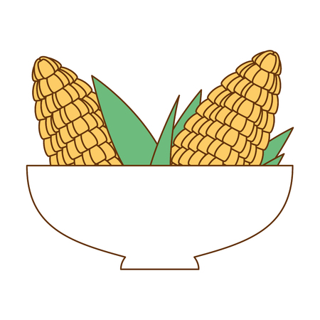 bowl with corn fresh vector illustration design Çizim