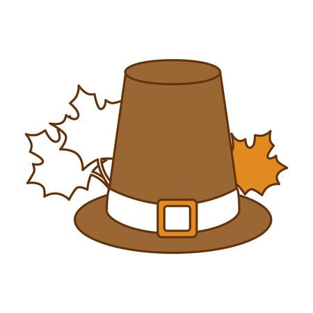 Chapeau de thanksgiving avec mapple leafs vector illustration design Banque d'images - 91082406
