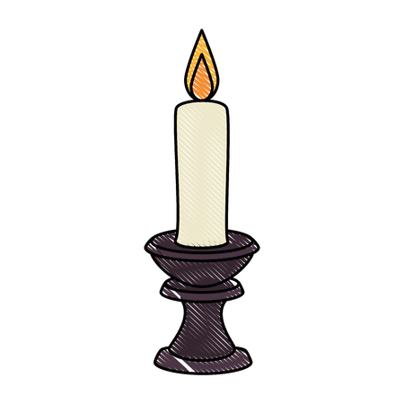 Paraffin candle in candlestick vector illustration design Zdjęcie Seryjne - 91084632