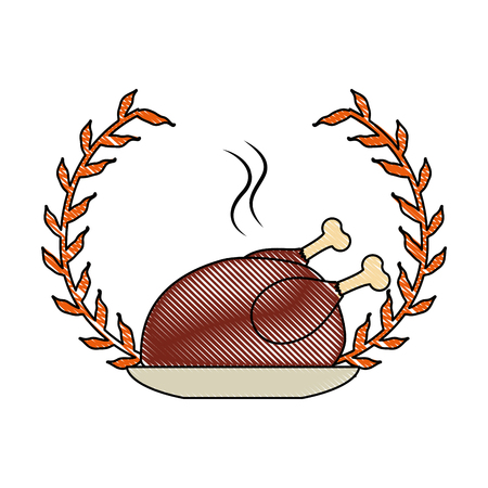 Dish with chicken isolated icon vector illustration design Illustration