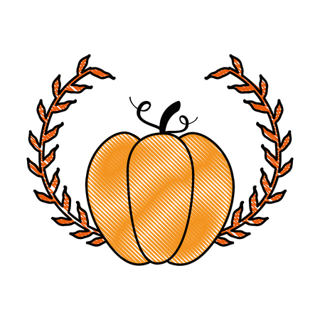 Pumpkin with crown fro Thanksgiving celebration in cartoon illustration.