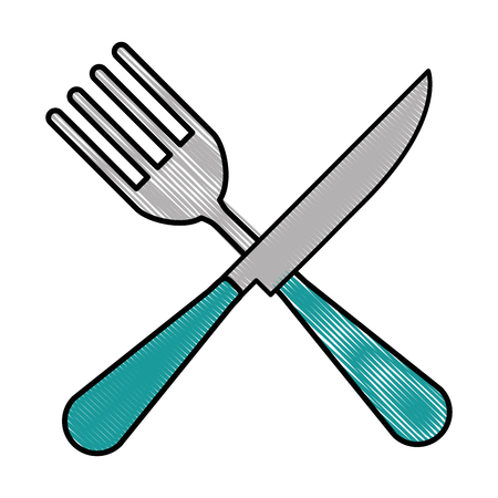 A fork and knife cutlery tool icon vector illustration design