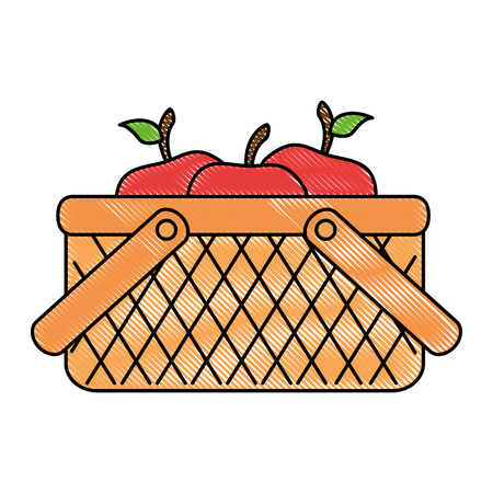 basket with apples icon vector illustration design Illustration