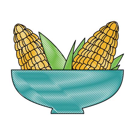 Bowl with corn vector illustration design Çizim