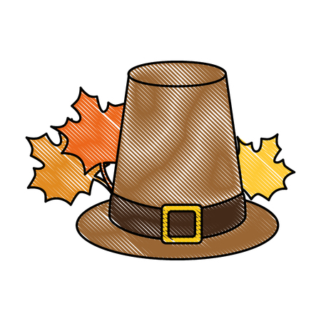 thanksgiving hat with mapple leafs vector illustration design Illustration