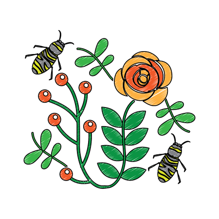 bees flying over some flowers branch leaves vector illustration