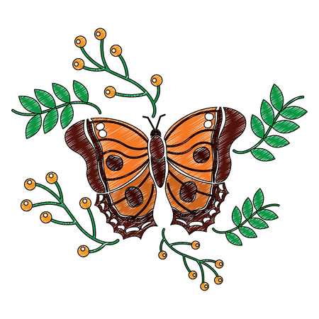 monarch butterfly animal insect with branch berries natural image vector illustration