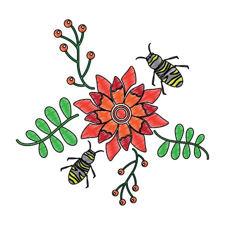 いくつかの花の上を飛ぶミツバチは、ベクトルイラストを残します