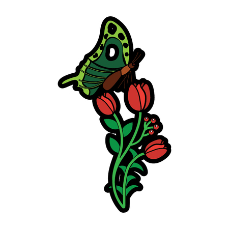 nature blossom branch of red flowers and butterfly vector illustration