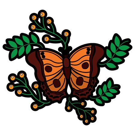 monarch vlinder dierlijk insect met tak bessen natuurlijke afbeelding vectorillustratie