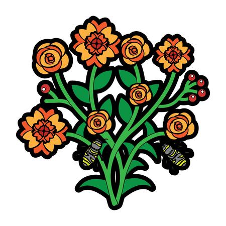 일부 꽃 이상 비행 꿀벌 분기 벡터 일러스트 레이 션을 나뭇잎 일러스트