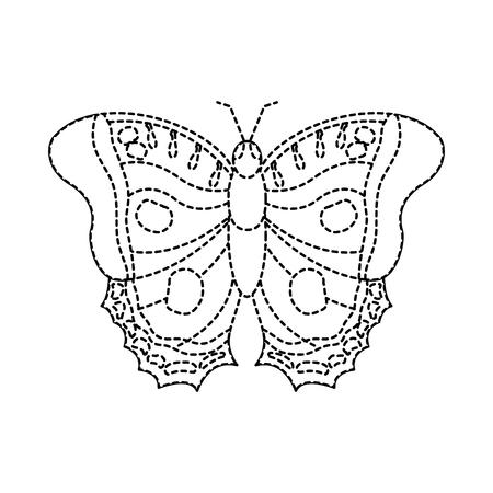 bovenaanzicht van prachtige monarch vlinder vector illustratie sticker Stock Illustratie