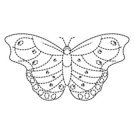 bovenaanzicht van prachtige vlinder insect dierlijke vector illustratie sticker