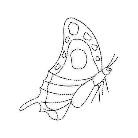 zijaanzicht van prachtige monarch vlinder vector illustratie sticker