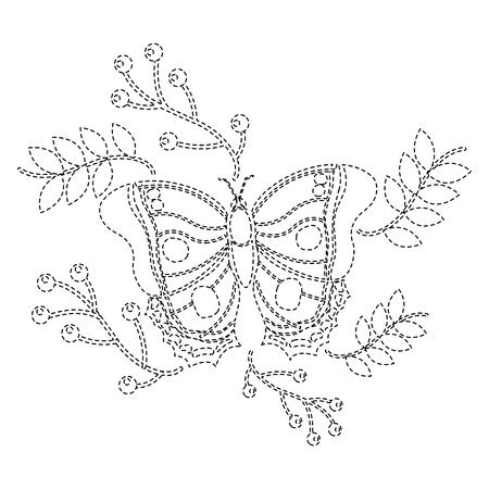 monarch vlinder dierlijk insect met tak bessen natuurlijke afbeelding vector illustratie sticker