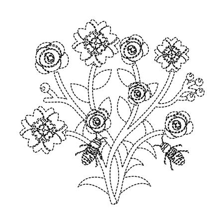 いくつかの花の上を飛ぶミツバチは、ベクトルイラストステッカーを残します  イラスト・ベクター素材