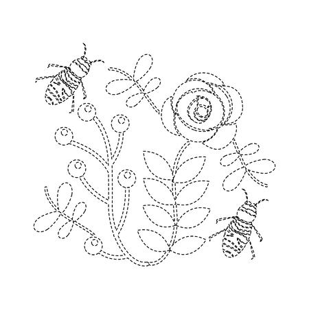 일부 꽃 이상 비행 꿀벌 분기 벡터 일러스트 레이 션 스티커 나뭇잎