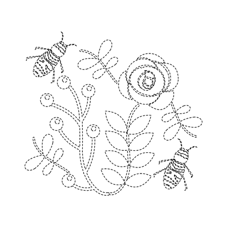 bees flying over some flowers branch leaves vector illustration sticker