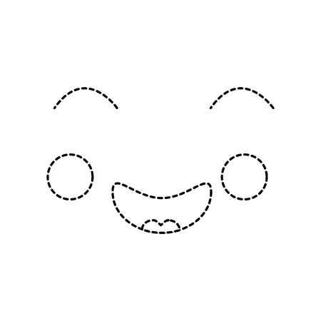 Cheerful face icon in black dotted line illustration Illusztráció