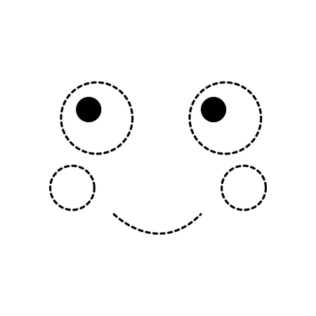 Happy face icon in black dotted line illustration