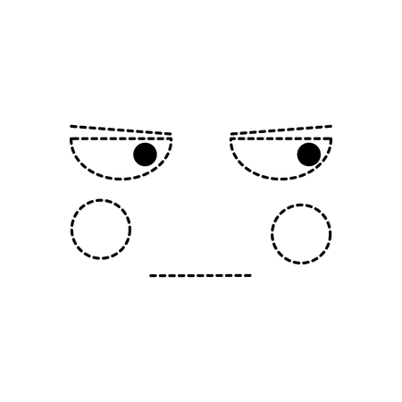 Angry face emoticon icon.