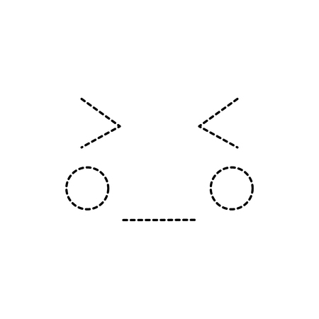 Occhi chiusi viso chiuso emoji icona immagine illustrazione vettoriale design linea tratteggiata nera Archivio Fotografico - 91168604