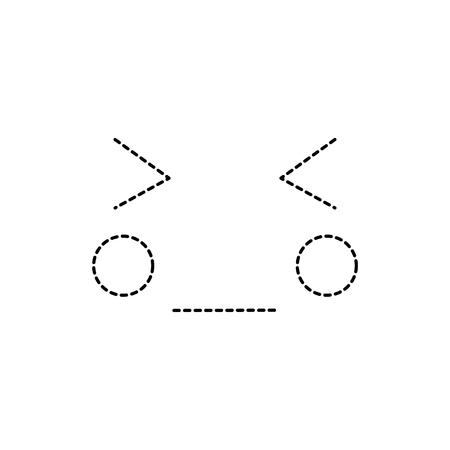 eyes closed shut face emoji icon image vector illustration design black dotted line