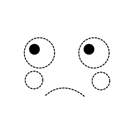 sad face emoji icon image vector illustration design black dotted