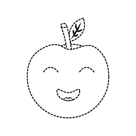apple happy fruit  icon image vector illustration design black dotted line Illustration