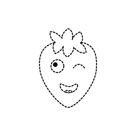 strawberry wink fruit  icon image vector illustration design black dotted line