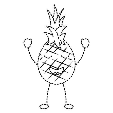 パイナップルハッピーブリスフルーツアイコン画像ベクトルイラストデザイン 黒点線