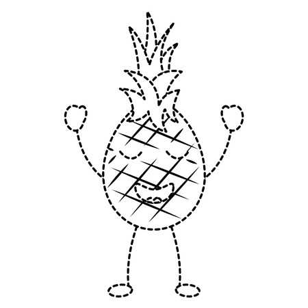 pineapple happy bliss fruit  icon image vector illustration design black dotted line