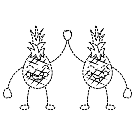 Pinapples couple doing high five happy fruit icon.