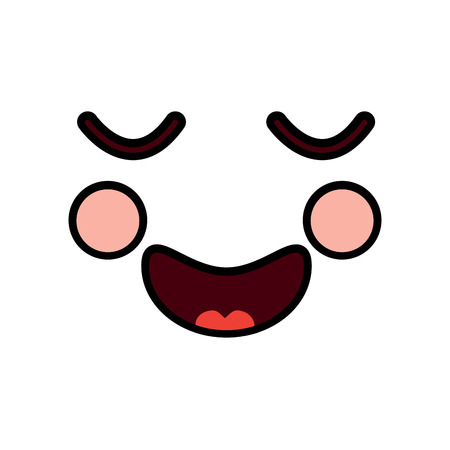 Happy relaxed bliss face emoticon icon. Illustration