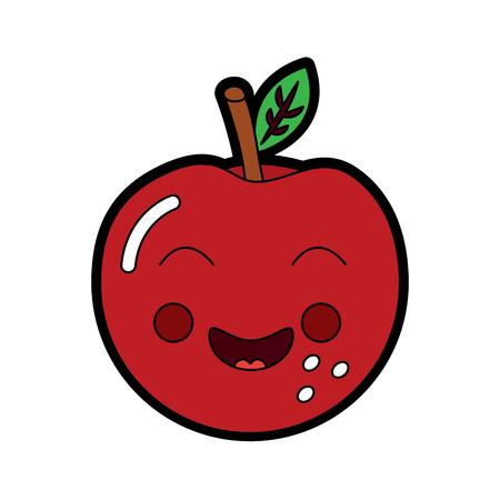 An apple happy fruit kawaii icon image vector illustration design