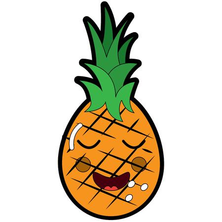 パイナップル幸せ至福果物の絵文字アイコン。