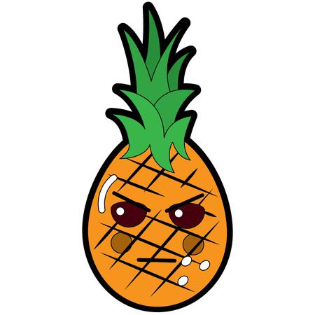 Pinapple happy bliss fruit emoticon icon.