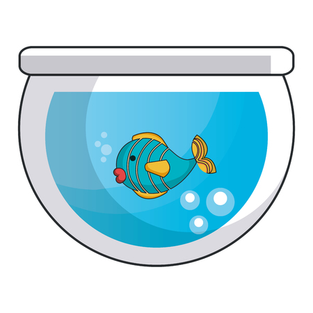 aquarium glass with cute fish vector illustration design