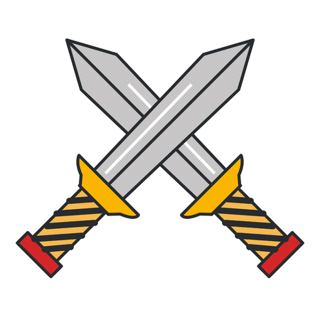 warrior swords isolated icon vector illustration design