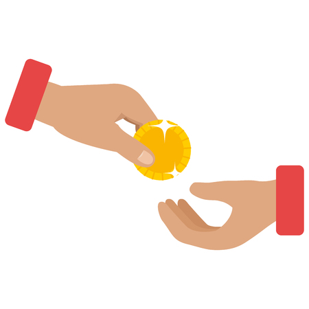 hands with coin money isolated icon vector illustration design Illustration