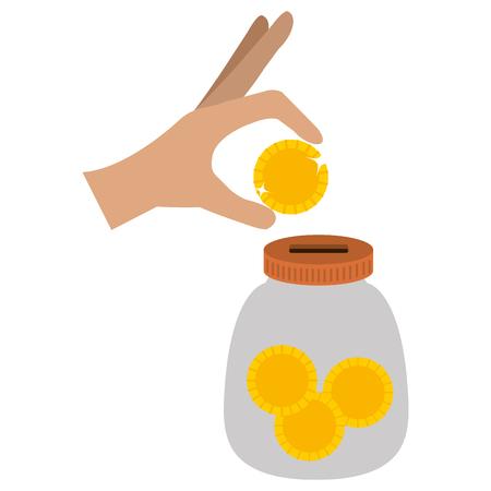 hand saver with glass jar and coins money vector illustration design Иллюстрация