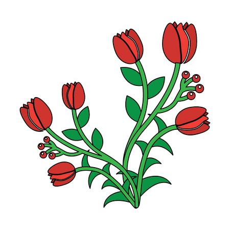 A roses berries floral bud flowers stem nature vector illustration
