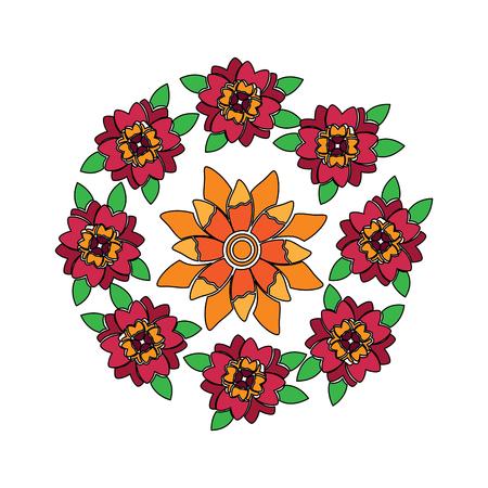 花柄の丸い配置。  イラスト・ベクター素材