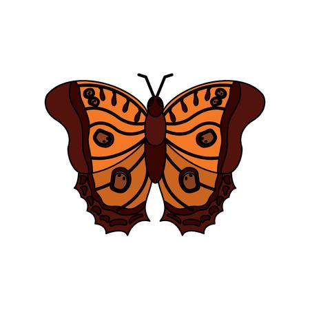 Een bovenaanzicht van prachtige monarch vlinder vectorillustratie