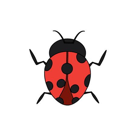 レディバグの関節動物昆虫シングルアイコンベクトルイラスト