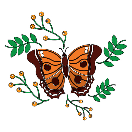 A monarch butterfly animal insect with branch berries natural image vector illustration