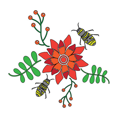 Bees flying over some flowers branch leaves vector illustration Çizim