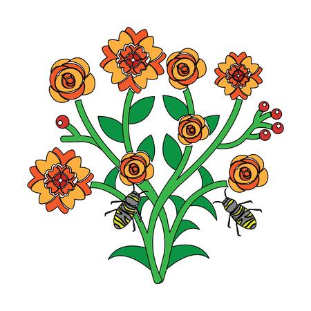 일부 꽃 분기를 비행하는 꿀벌 벡터 일러스트 레이 션을 나뭇잎