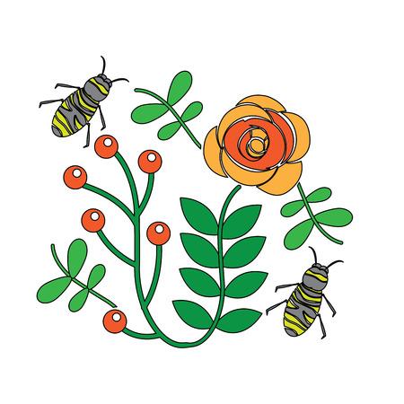 葉の枝イラストで花の上を飛ぶミツバチ